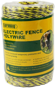 Portable Electric Fence Polywire 656 Feet 200 Meter 6 Conductors Yellow And B