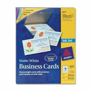 Avery Business Cards For Inkjet Printers 8471 Matte White Box Of 1000