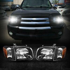 Fit For 2005 2006 Toyota Tundra Double Crew Cab Black Headlights Assembly Pair