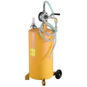 20 Gallon Gas Fuel Diesel Caddy Transfer Tank Container W Rotary Pump Yellow