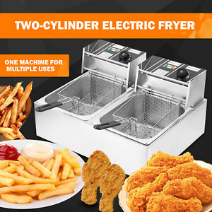 5000w 12l Stainsteel Electric Deep Fryer Dual Tank Commercial Restaurant Samger