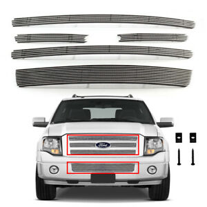 Fits 2007 2014 Ford Expedition Billet Grille Chrome Aluminum Grill Insert Combo