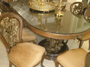 75k Most Amazing Antique Solid Carved Large Dining Table 10 Chairs Awesome Base