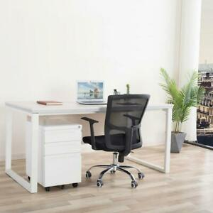 Rolling File Cabinet Office Storage Printer Stand Cart Filing 3 Drawer White