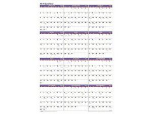 At a glance 2022 36 X 24 Yearly Calendar Extra Large White red purple