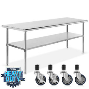 Open Box Stainless Steel Kitchen Work Food Prep Table W 4 Casters 30 x72