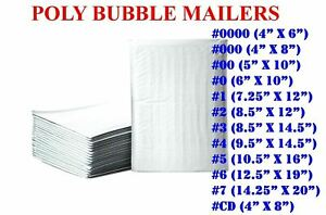 50 100 200 500 Poly Bubble Mailers Padded Envelope Shipping Bags Seal Any Size