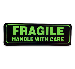 Green And Black 1x3 Fragile Handling Mailing Stickers 500 Labels Per Roll