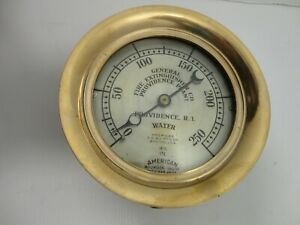 Brass Water Gauge General Fire Extinguisher Co Providence Ri 1903