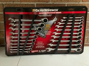 New Gearwrench 20 Piece Pc Standard Metric Ratcheting Combination Wrench Set