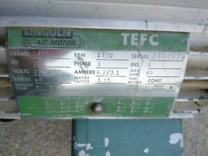 Lincoln 2hp 3 Phase Ac Motor