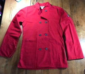 Chefwear Red Double breasted Chef Jacket Coat Unisex Adult Size Xs 8 12