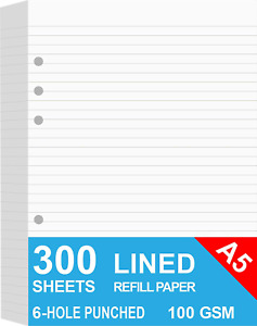3 pack A5 Lined Refills Paper For Filofax Planner binders organizer 6 Hole 300