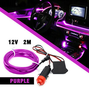 6 56ft Led Car Interior Decor Lamp Atmosphere Wire Strips Light Accessory Purple
