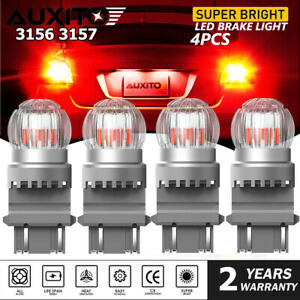 4x Auxito 3157 Red Led Brake Tail Parking Stop Light Bulbs 4157 Super Bright