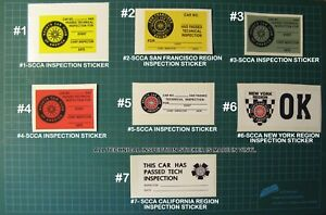 Tech Inspection Vinyl Decals Stickers Scca Car Racing Sports Car Club Of America