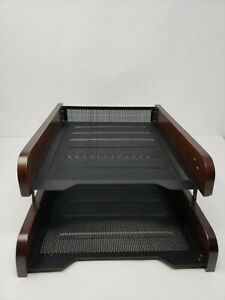 Buqoo Office Desk Organizer Mesh Metal 2 Tier Document Letter Tray For Folders