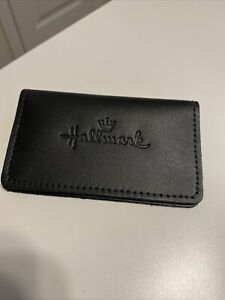 New Crown Hallmark Cards Black Business Card Holder Leather Or Pleather 4 x2 5