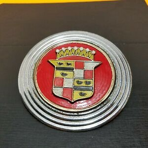 Vintage Cadillac Round Emblem Possibly 1947 1953 Badge For Hubcap W Trim