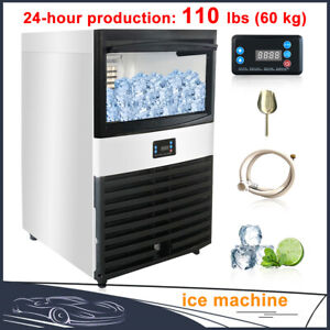 235w 110lbs Commercial Ice Maker Stainless Steel Auto Clear Cube Making Machine