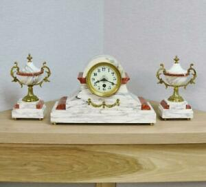 Beautiful Antique French 8 Day White Red Marble Mantle Clock Garniture Set