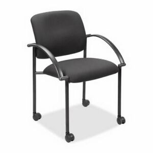 Lorell Stackable Guest Chair W Arms 23 1 2 x23 1 2 x33 Black llr65965
