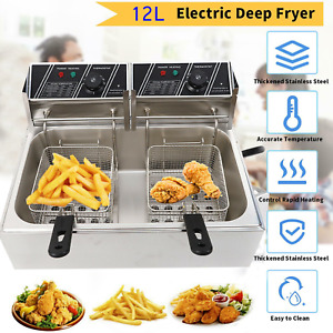 5000w 12l Electric Deep Fryer 1 Tank Commercial Restaurant Stainless Steel Us