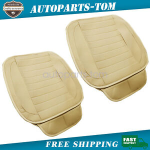 2 Pack Universal Car Seat Cover Cushion Beige Pu Leather For Front Seats
