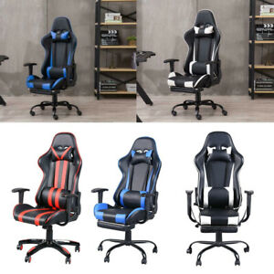 Executive Gaming Chair Office Chairs Computer Seat Racing Recliner W Footrest