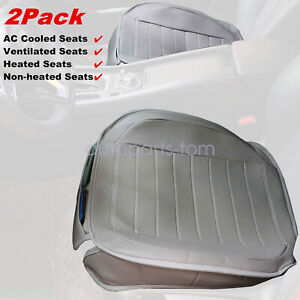 2 Pack Universal Car Seat Cover Cushion Gray Pu Leather For Front Seats