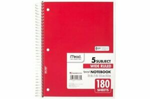 Mead 5 Subject Spiral Notebook Wide Ruled 10 1 2 X 7 1 2 180 Sheets Red