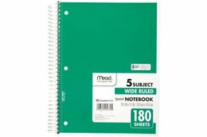 Mead 5 Subject Spiral Notebook Wide Ruled 10 1 2 X 7 1 2 180 Sheets Green