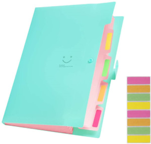 Sooez Expanding File Folders With 5 Pockets Plastic A4 Letter Size Accordion