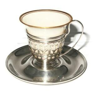 Gorham Sterling Silver Liner Saucer A5550 A5549 W Lenox China Demitasse Cup