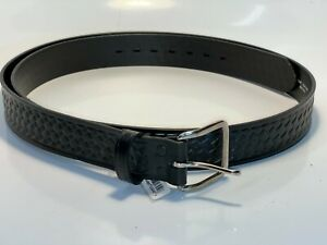 Chambers Size 52 Black Leather Basket Weave Police Security Pants Belt