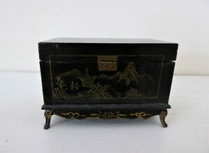 Vintage Miniature 1 12 Oriental Chinoiserie Chest Dolls House Furniture Display