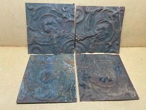 4 Pc Lot 11 5 X 11 5 Antique Ceiling Tin Metal Reclaimed Salvage Art Craft