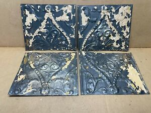 4 Pc Lot 11 5 X 8 Antique Ceiling Tin Metal Reclaimed Salvage Art Craft