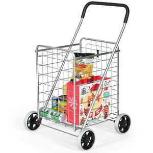 Ironmax Folding Shopping Cart Utility Trolley Portable For Grocery Travel Silver