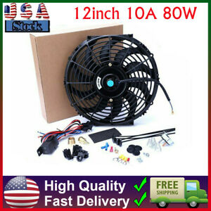 12inch 10a 80w Cfm Electric Radiator Fan High Thermostat Wiring Switch Relay Kit