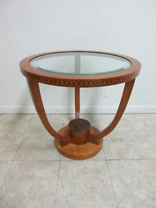 Hickory White Genesis Collection Biedermeier Style Inlay Round Lamp End Table