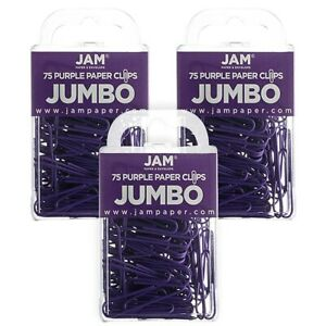 Jam Paper Colored Jumbo Paper Clips Large 2 Inch Purple Paperclips 42186879b