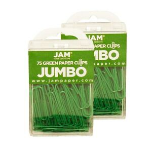 Jam Paper Colored Jumbo Paper Clips Large 2 Inch Green Paperclips 42186878a