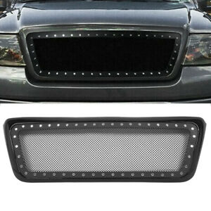 Abs Stainless Steel Front Mesh Rivet Grille Grill Black For Ford F150 2004 2008