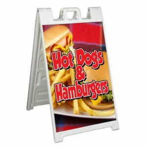 Hot Dogs And Hamburgers Signicade 24x36 Aframe Sidewalk Sign Banner Decal Food