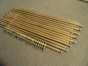 16 Vintage French Brass Stair Rods And Thier Brackets X 32
