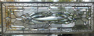 Stained Glass Transom Window Hanging 40 X 14 1 2 Incl Hooks
