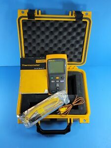 Fluke 52 Ii Thermocouple Thermometer Excellent Screen Protector Hard Case