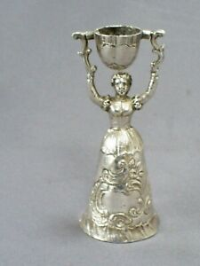 Antique Miniature Continental Silver 2 5 Lady Wedding Cup Dinner Or Table Bell
