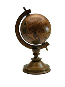 Vintage Decorative World Desk Globe Wooden Stand Home Office Decor Made In Italy